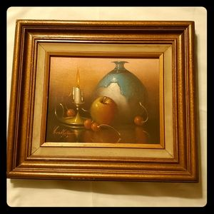 Vintage Oil Painting Signed Wallace COA Still Life